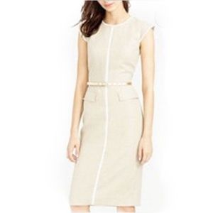 J. Crew Patch Pocket Sheath Tipped Linen Dress